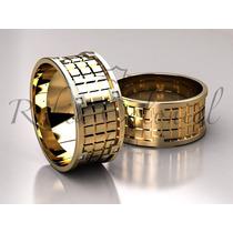 Par Alianças Ouro 18k E Diamantes Design Exclusivo! Ouro 18k