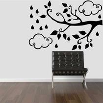 Adesivo Decorativo Parede Galho Árvore Nuvem Folhas Floral