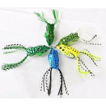 Kit Com 05 Isca Sapo Artificial Frog Anzol Anti Enrosco Line