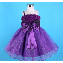 Vestido Infantil Festa Dama Florista Prata, Melancia Ou Roxo