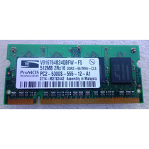 Memoria Ddr2 Notebook 512 Mb 667 Promos 2rx16 Pc2-pc5300s-55