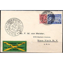 Brasil 1930 Envelope Com Selo Graf Zeppelin De 20.000 Réis