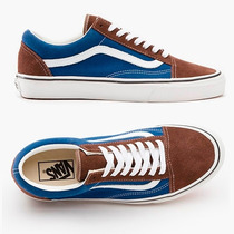 Tenis Vans Old Skool Vintage Marrom E Azul Skate Casual