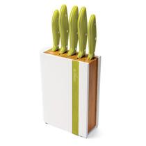 Conjunto 5 Facas Inox Gourmet C/ Cepo Bambu Mundial 4300-5vd