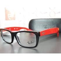 Armação Oculos Grau Rb5216 Wayfarer Preto E Vermelho Ray-ban