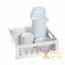 Kit Higiene Bandeja Branca Borboletas Quarto Bebê E Infantil