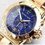 Relógio Michael Kors Bel Aire Mk5410 Dourado Fundo Azul 12xs
