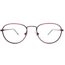 Armação Óculos De Grau Redondo Metal Leve Fino