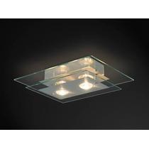 Plafon Sala/quarto Retangular 2 Lampadas V. Transparente