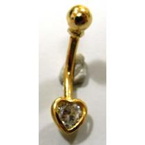 Piercing Umbigo Ouro 18k Coraçao Cristal - K0.8 - Pie01216