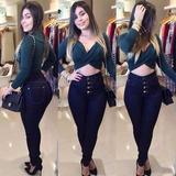 Calca-Jeans-Feminina-Hot-Pants-Cintura-Alta-Com-Lycra