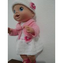 Roupinha Crochet Rosa Para Boneca Baby Alive Ou Semelhante
