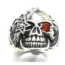 Anel Cranio Skull Caveira Em Prata 925 Olho De Rubi Ma2150