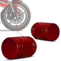Bico Valvula Pneu Ar Tampa Moto Universal Aluminio Vermelho