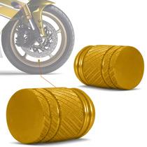 Bico Valvula Pneu Ar Tampa Moto Universal Dourado Par