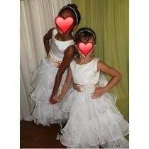 Vestido Daminha Honra - Dama Florista - Branco E Dourado
