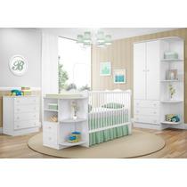 Quarto Infantil Doce Sonho 03 Pçs Berço Bebê Cômoda Branco