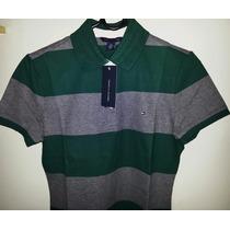 Camisa Tommy Polo Feminina Verde E Cinza - Listras - Tm M