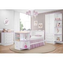 Quarto Infantil Doce Sonho 3 Pçs Berço Bebê Cômoda Bco Lilás