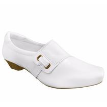 Sapato Branco Enfermagem Salto Baixo