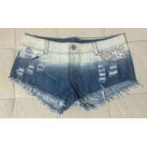 Short Curtinho Degradê Rasgado Spike Rock Funk Hip Hop Sexy