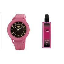 Relógio Feminino Everlast Esportivo E367 + Perfume Pink Corn