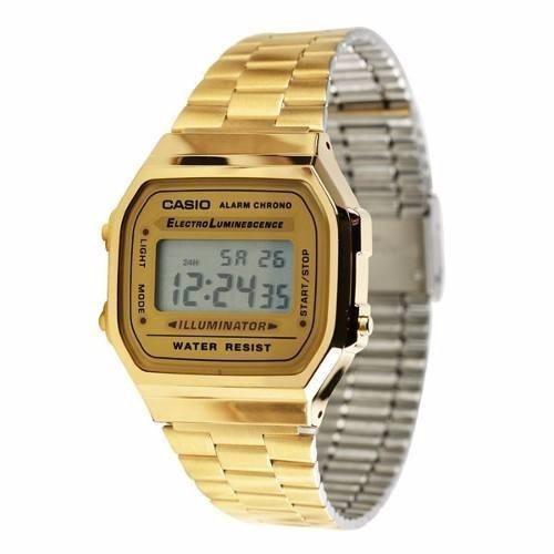 42ce1fb776a Relógio Casio Unissex A168 Original Retrô Dourado Gold Caixa. R  179.99