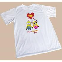Camisa Sublimada Engraçada Branca Minions Love Banana