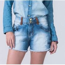 Short Jeans Com Detalhe Em Couro (46 E 48) Frete Grátis!!