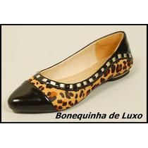 Sapato Sapatilha Couro Legítimo Animal Print Onça Frete Grat