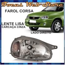 Farol Corsa Lente Lisa Carcaça Cinza 94 95 96 97 98 99 Ld