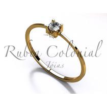 Anel Solitário Diamante 10 Pontos Ouro 18k-750 Noivado