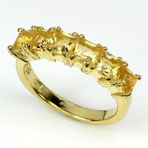 Jóia Anel Citrino Natural - Prata 925 Ouro 18k