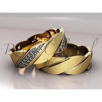 Alianças De Casamento - Ouro 18k - Modelo Luxo Trançado.