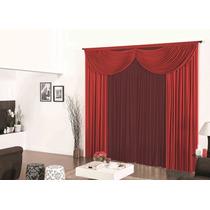 Cortina P/ Sala Riviera Vermelho Vinho 3mx2,8m Varão Simples