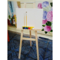 Cavalete Infatil P/pintura+ Tela 30x40cm+ 2 Piceis+ 6 Tintas