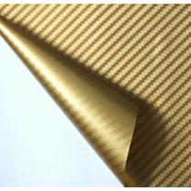 Adesivo Envelopamento Fibra Carbono Dourada 0.5x1.5mfretfree