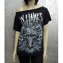 Camiseta Feminina In Flames - Gola Canoa - Malha C/ Elastano