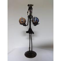 Estátua Escultura Africana De Ferro Feito A Mão Porta Velas
