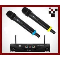 Microfone Tsi Ud-1500 Uhf Recarregável Duplo