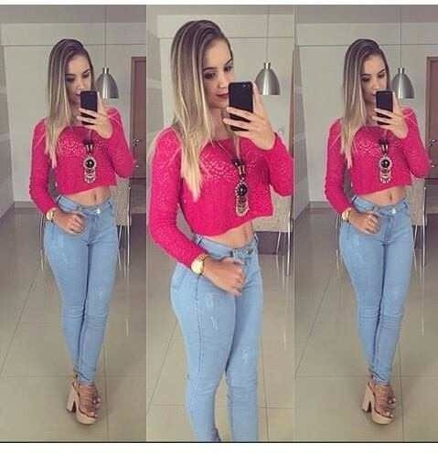 3db7787b8 Calça Jeans Cintura Alta Hot Pants Levanta Bumbum Azul Clara (Sawary ...