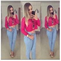 Calça Jeans Cintura Alta Hot Pants Levanta Bumbum Azul Clara
