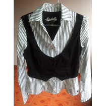 Camisa Social Feminina Missbella Preta E Branca | Tamanho M