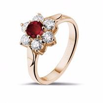 Anel Ouro 18k Flor Com Rubi E Diamantes - Cwb Joias