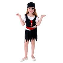 Fantasia Pirata Vestido Infantil Completa C/ Bandana