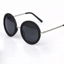 Óculos De Sol Redondo Armação Lentes Grandes