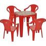 Kit Mesa Brahma Plastica + 4 Cadeiras C Braço Tramontina Bar