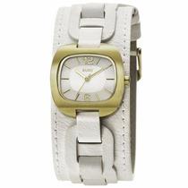 Relógio Fem Euro Em Couro Branco Com Dourado - Eu2035qr/2b