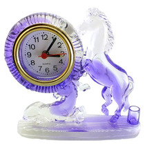 Relogio De Mesa Em Plastico Com Cavalos Roxos A4637