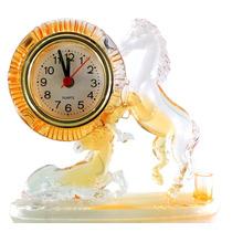 Relógio De Mesa Acrílico Forma De Cavalo Laranja A4639